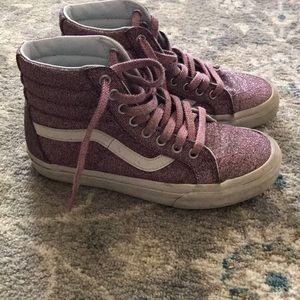 Vans sk-8 hi zip lurex pink sparkle, size 6